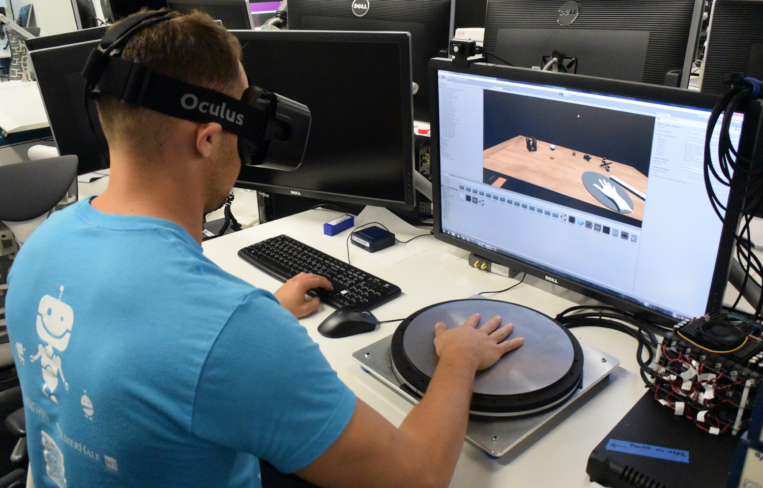 HapticWave, an Oculus research project, uses a metal plate to let you feel virtual objects and get a sense of where they're coming from, too.