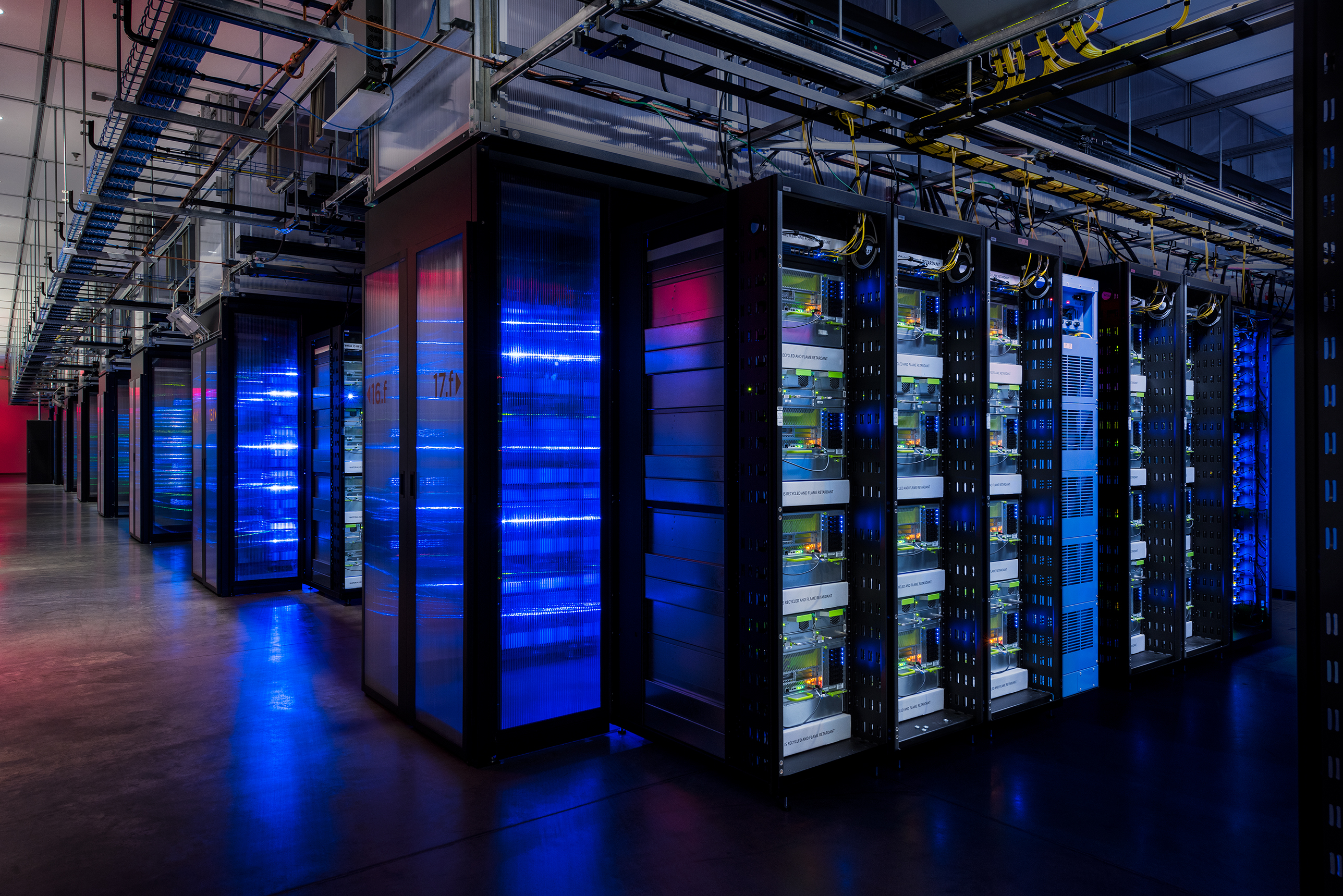 Facebook's new servers for artificial intelligence research, inside the company's data center in Prineville, Oregon.