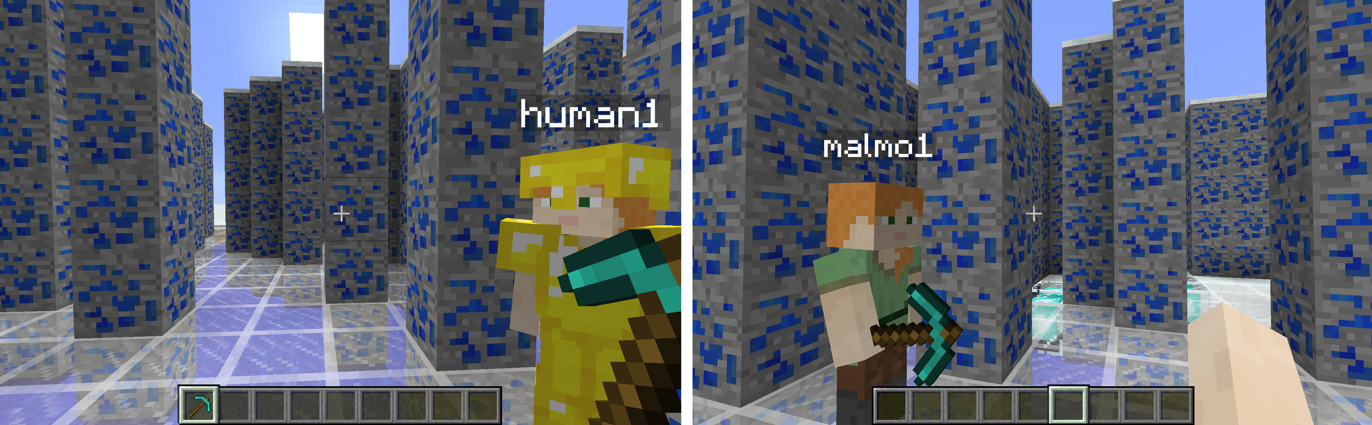 A character in Minecraft controlled by an algorithm and another operated by a person.