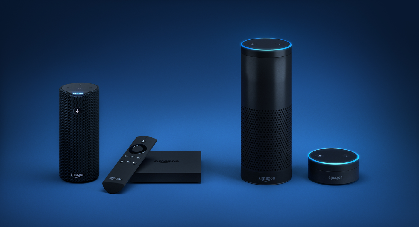 Amazon's voice-activated assistant Alexa is built into (left to right) the Tap portable speaker, FireTV set-top box, Echo speaker, and Echo Dot speaker.