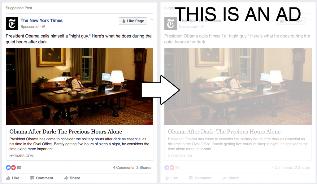 Princeton researchers say Facebook can't prevent their experimental add-on for the Chrome browser graying out ads in your News Feed.