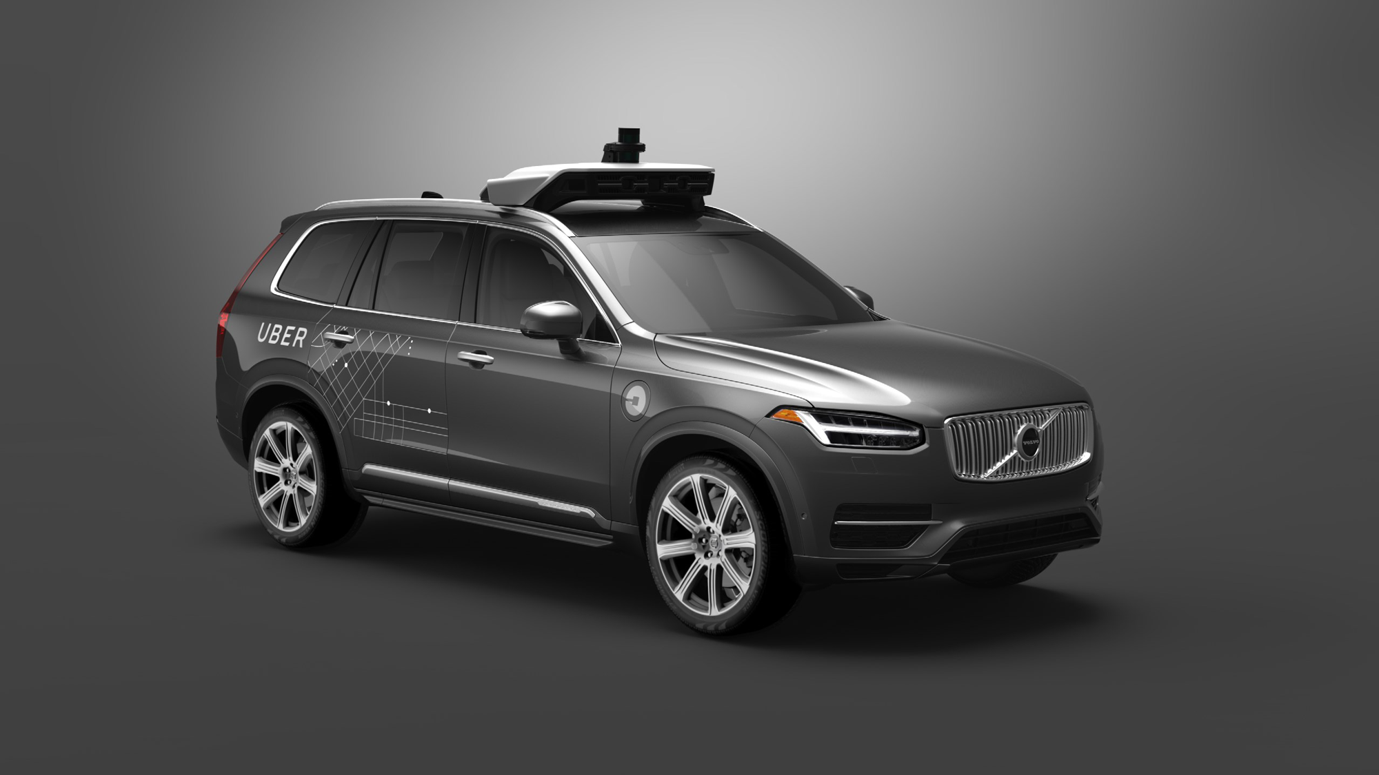 A Volvo SUV with automated driving technology developed by Uber.