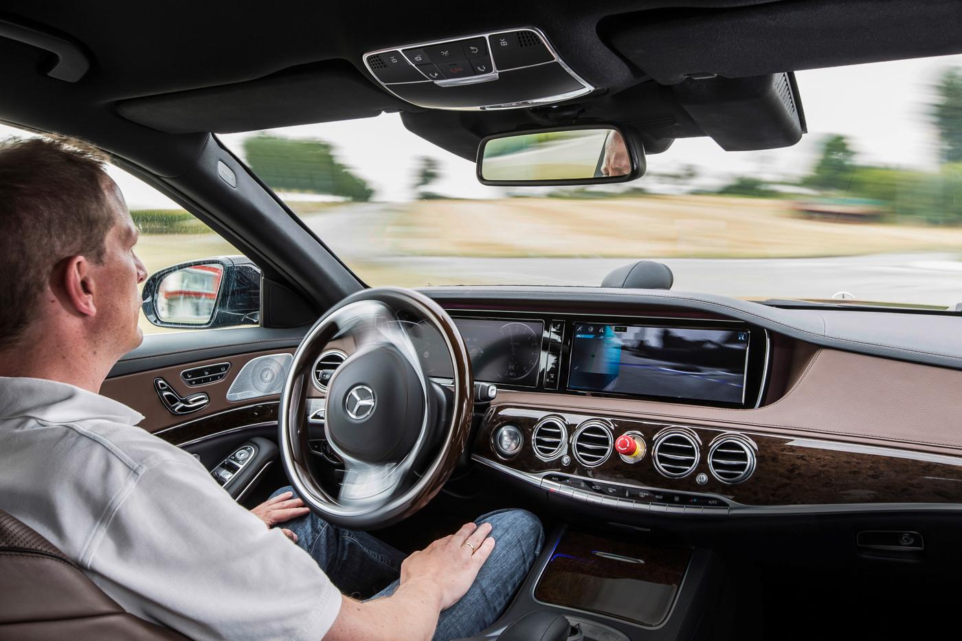 A Mercedes-Benz self-driving car prototype.