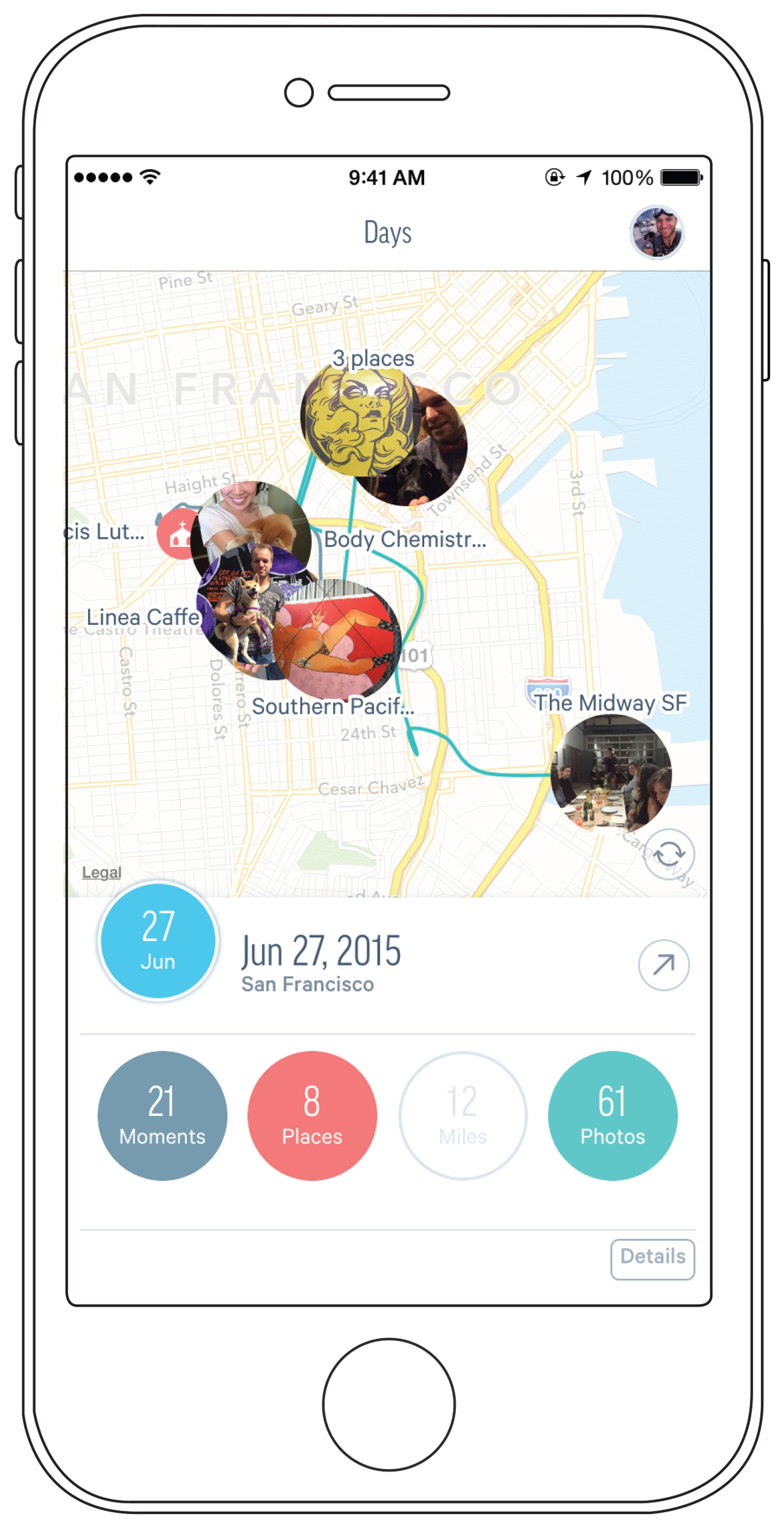 By connecting the Fabric app with your photos, social platforms, and GPS system, you can find out what you did on any given day.