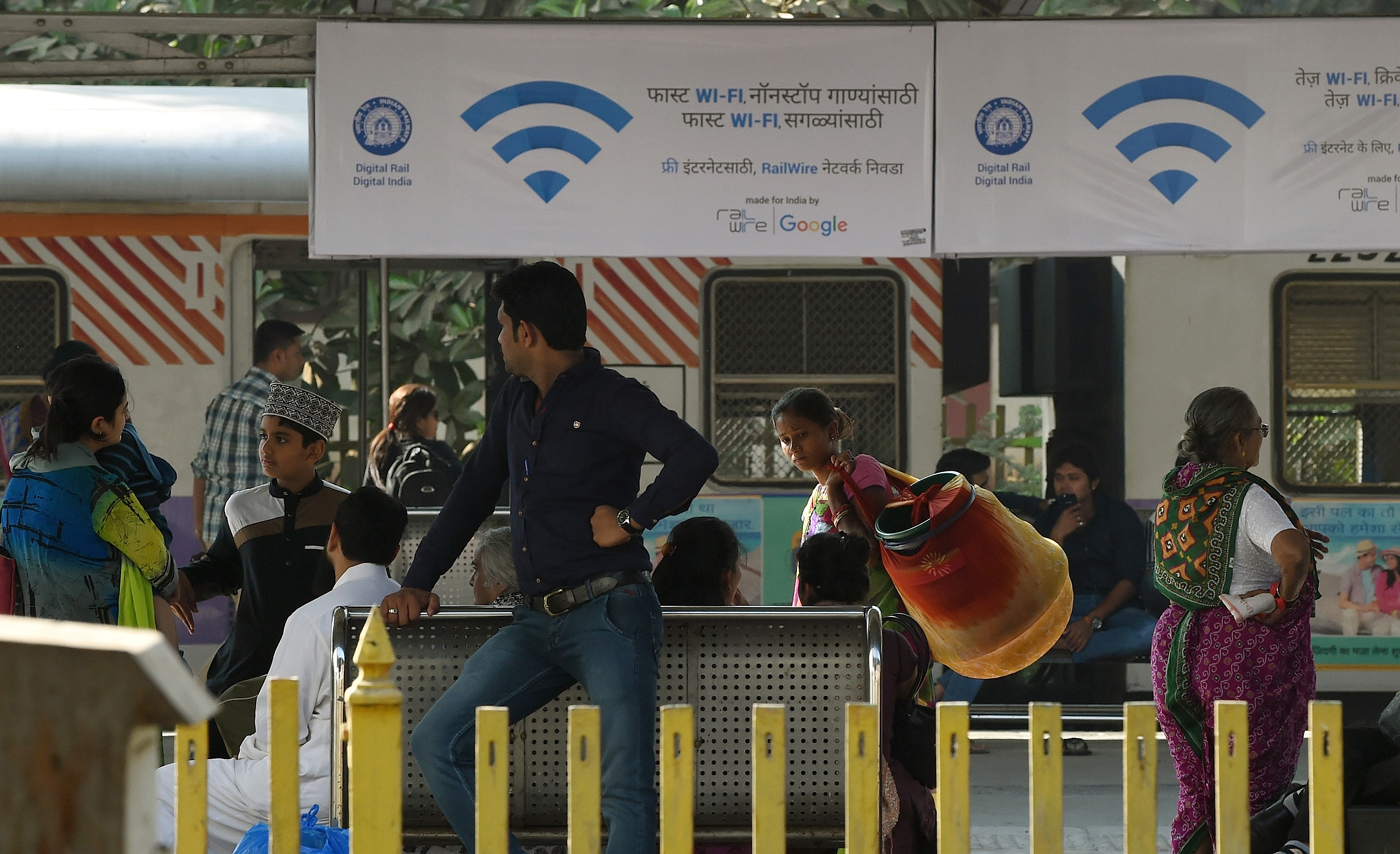 In partnership with Google, Indian Railways' RailTel offers free Wi-Fi Internet service in Mumbai's central railway station. The service is due to be rolled out in 100 of the country's busiest stations by the end of 2016.