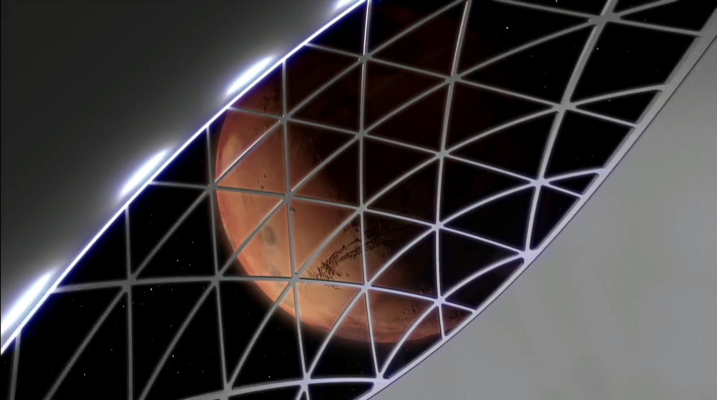 """The (simulated) view from inside a Mars-bound spacecraft, which Musk said will be packed with restaurants and zero-gravity games as well as people and cargo. """"You're gonna have a great time,"""" he said."""