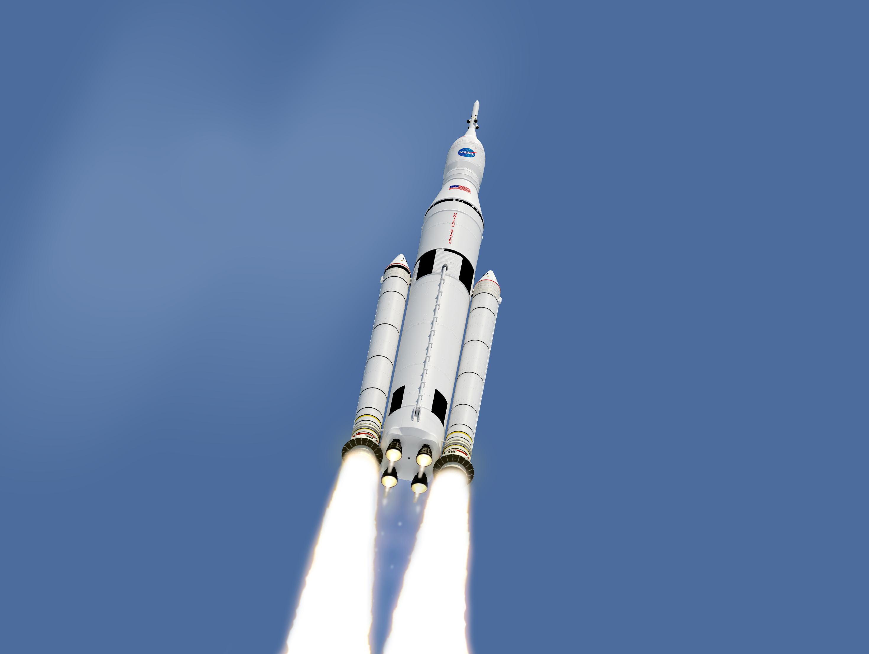An artist's impression of what the Space Launch System rocket may look like once complete.