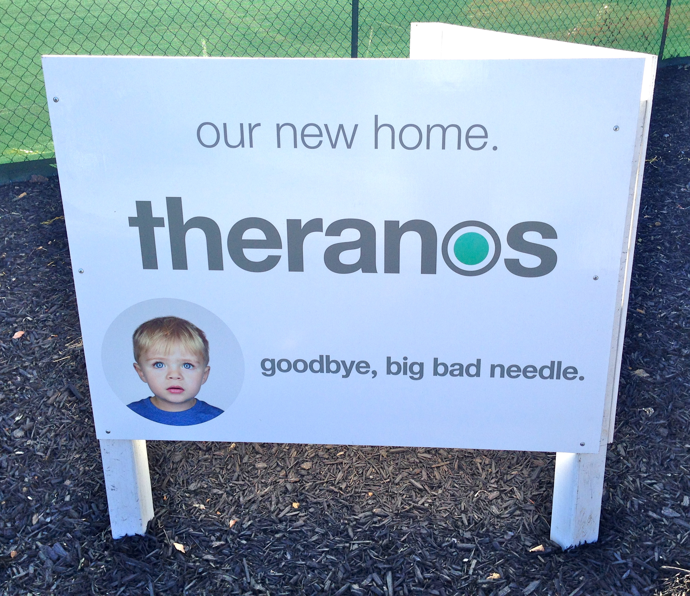 A sign outside the construction site of Theranos HQ in Silicon Valley, way back in 2014.