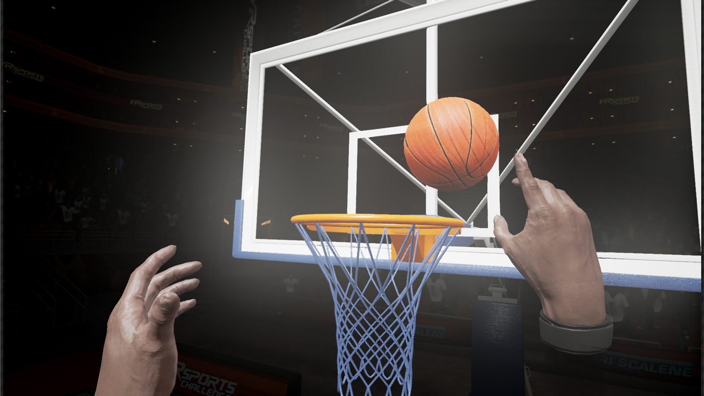 Getting hands on with virtual objects, like this basketball, makes virtual reality more fun.
