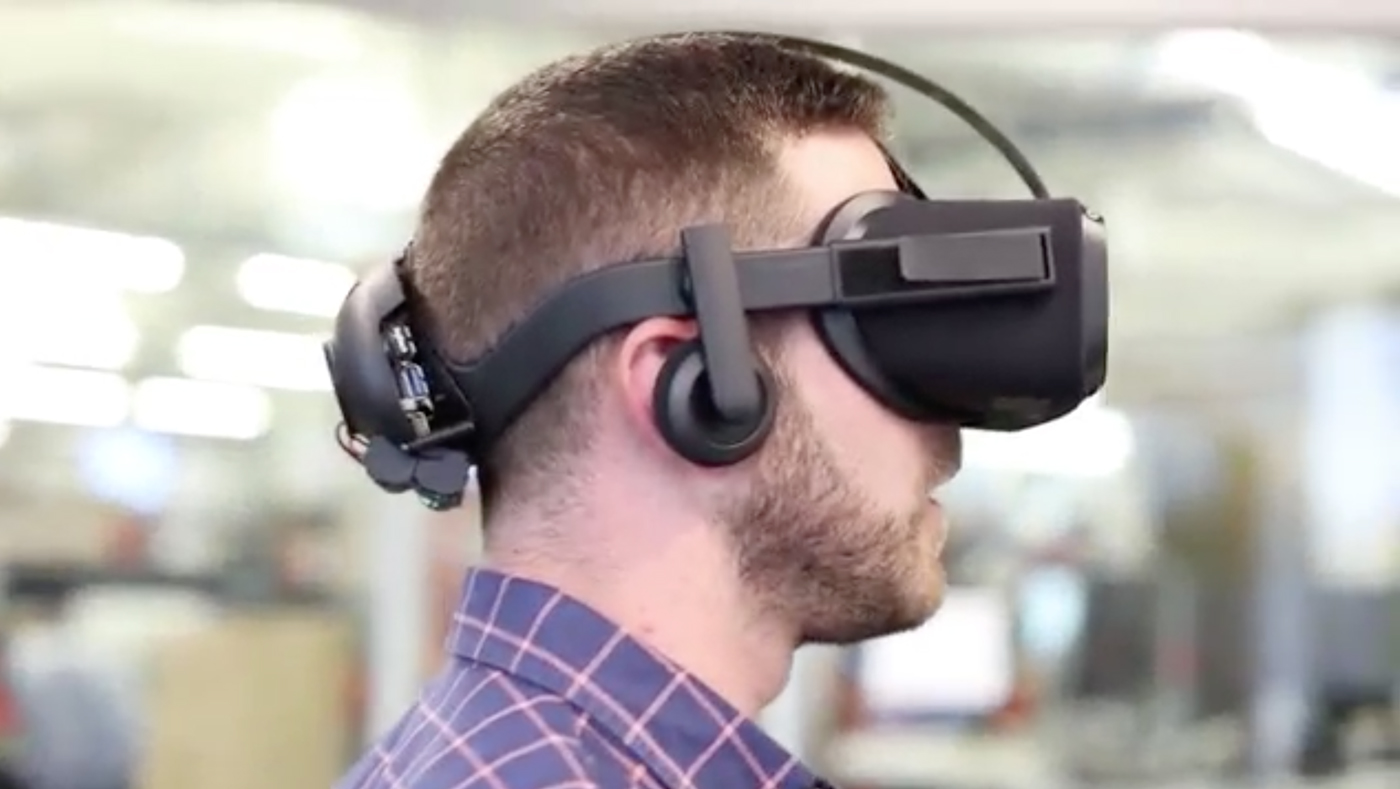 Mark Zuckerberg showed a short video of someone trying out a new prototype VR headset during an event in San Jose, California, Thursday.