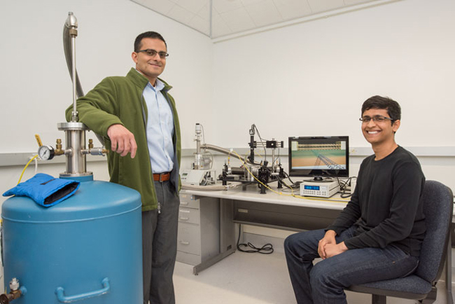 Ali Javey, left, and Sujay Desai have created the world's smallest transistor.