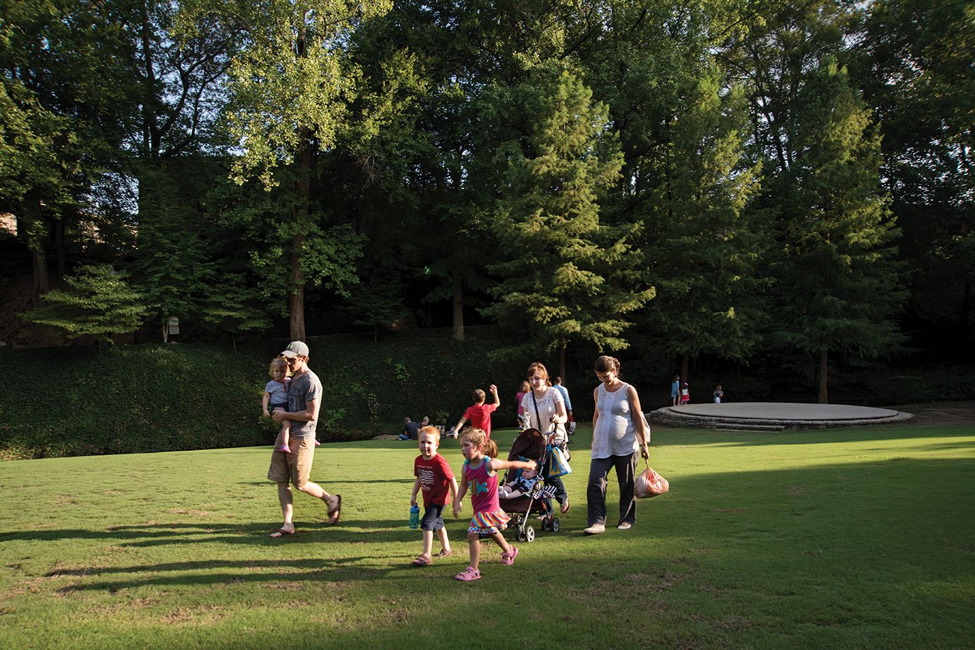 A family at Falls Park in Greenville.