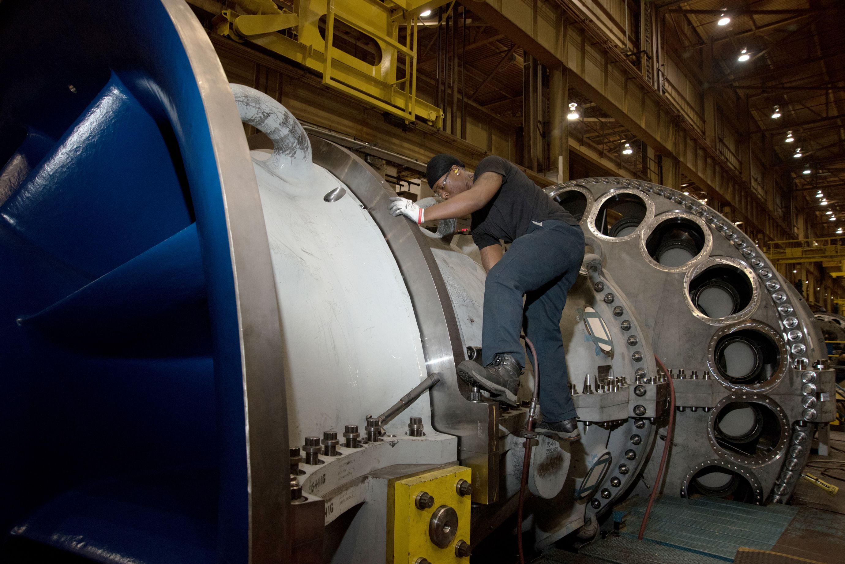 Worker at the GE gas turbine facility in Greenville.