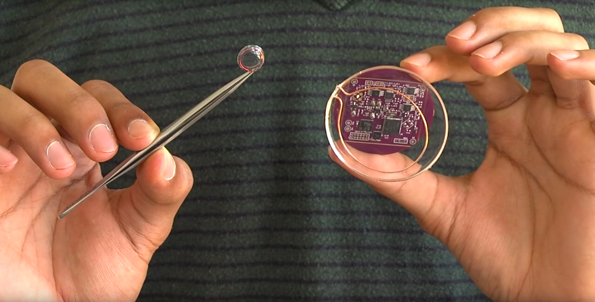 A prototype contact lens, left, and brain implant, right, can communicate over Wi-Fi despite lacking batteries.