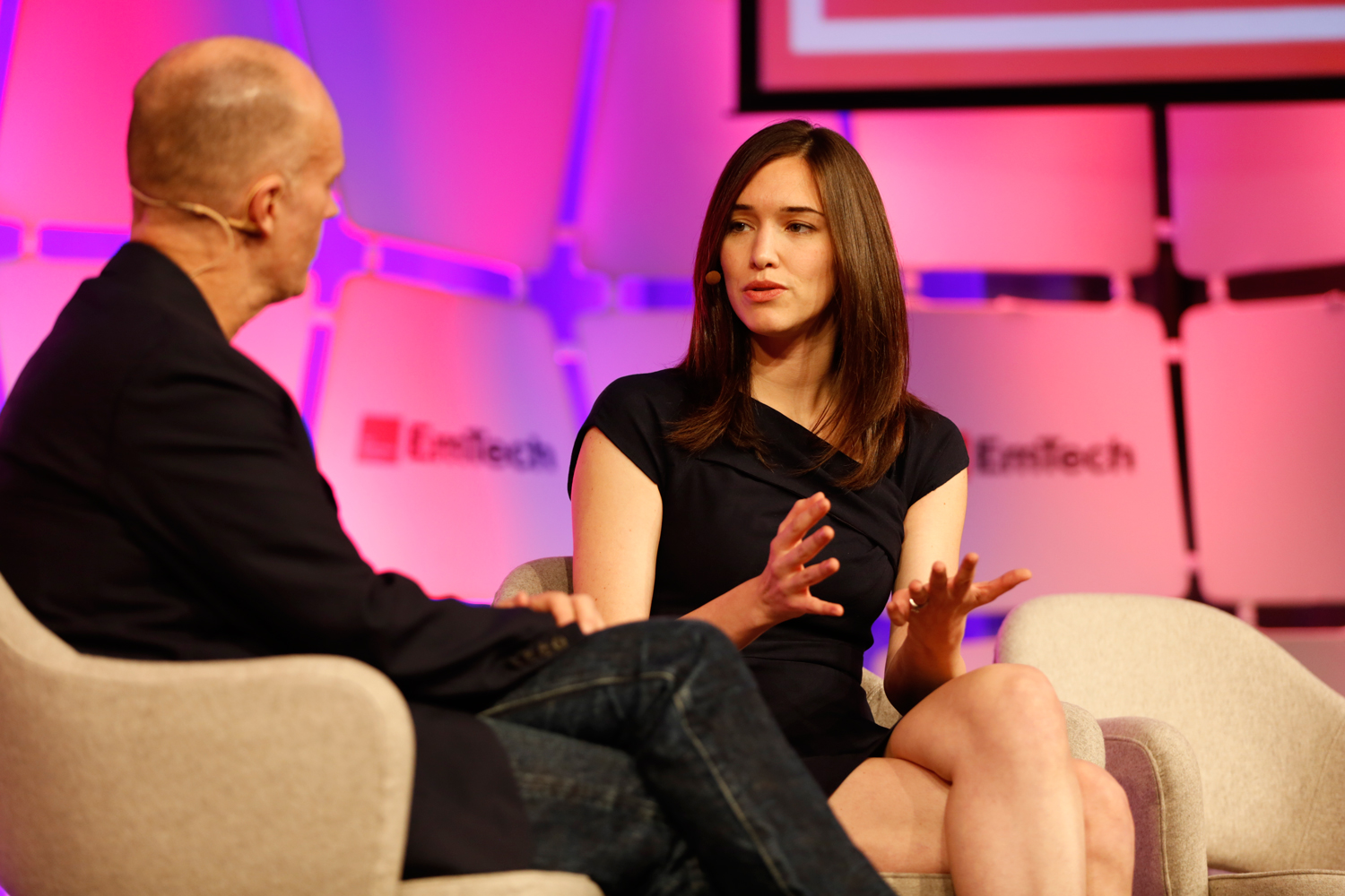 Rachel Haot, right, speaks with MIT Technology Review's editor in chief, Jason Pontin.