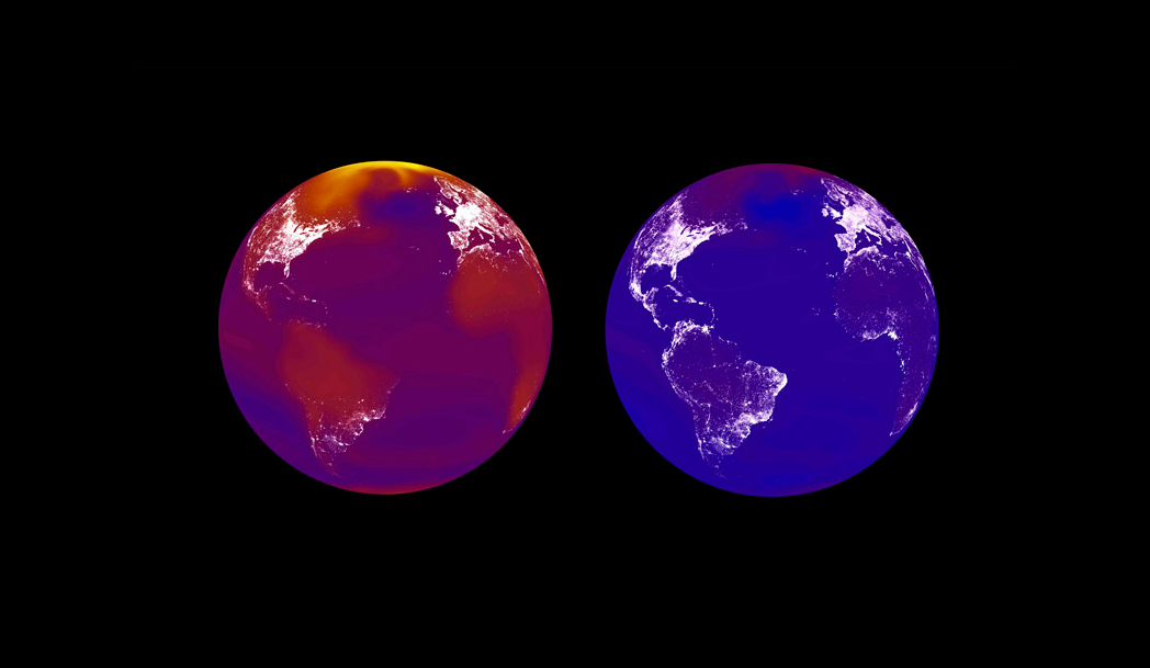 Simulations of two possible future worlds in 2100; the world if climate change is largely unabated (left) and with an aggressive climate policy (right). In the simulation, richer economies glow brighter.