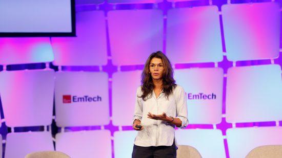 Jessica Brillhart speaking at EmTech MIT 2016.