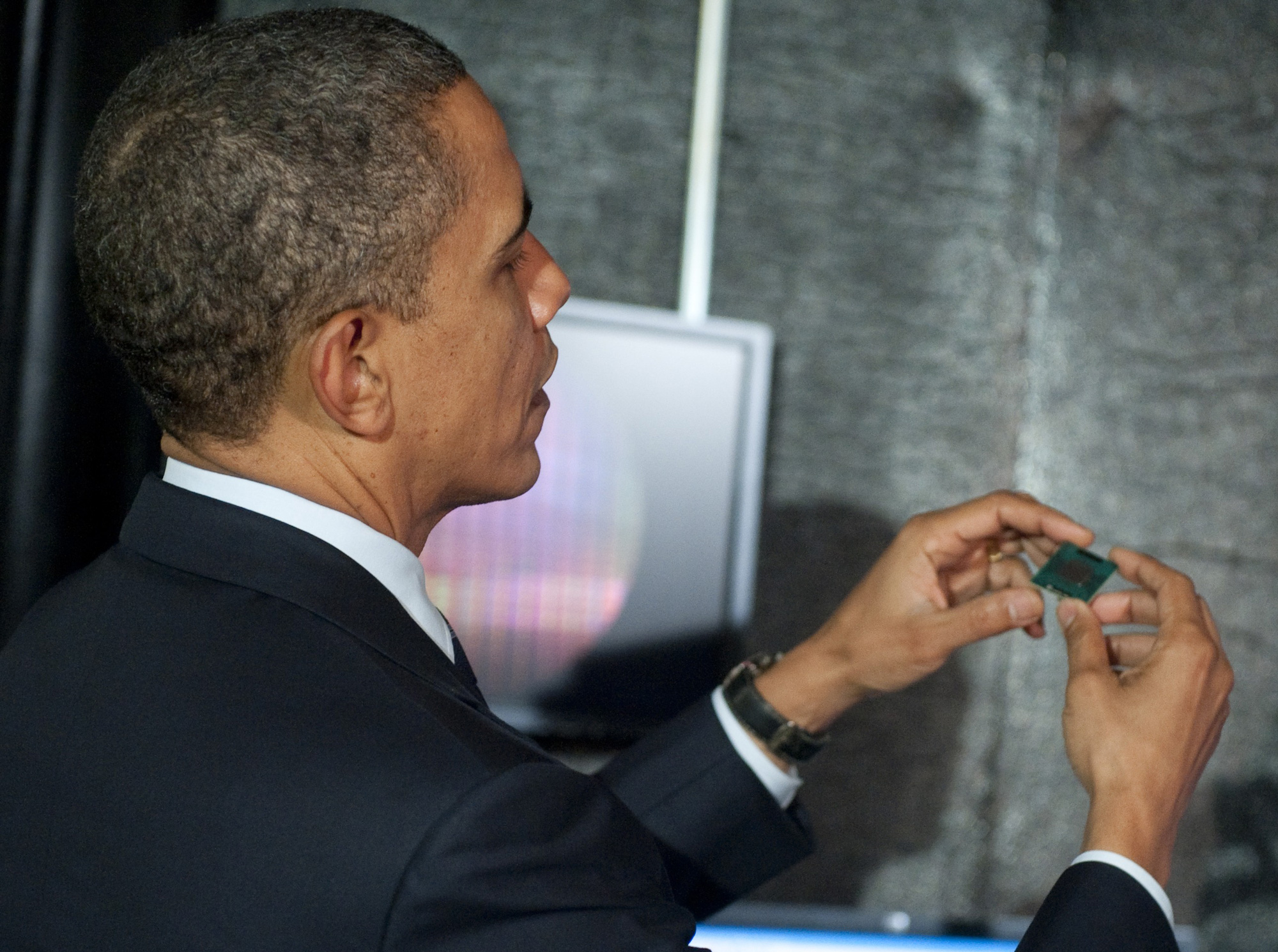 President Obama tours an Intel manufacturing facility in 2011.
