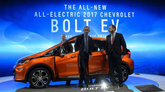 Barack Obama scoped out a Chevy Bolt at the 2016 North American International Auto Show in Detroit.