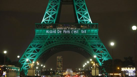 """On November 4, 2016, the Eiffel Tower read """"The Paris accord is done"""" in celebration of the historic climate agreement's first day in effect."""