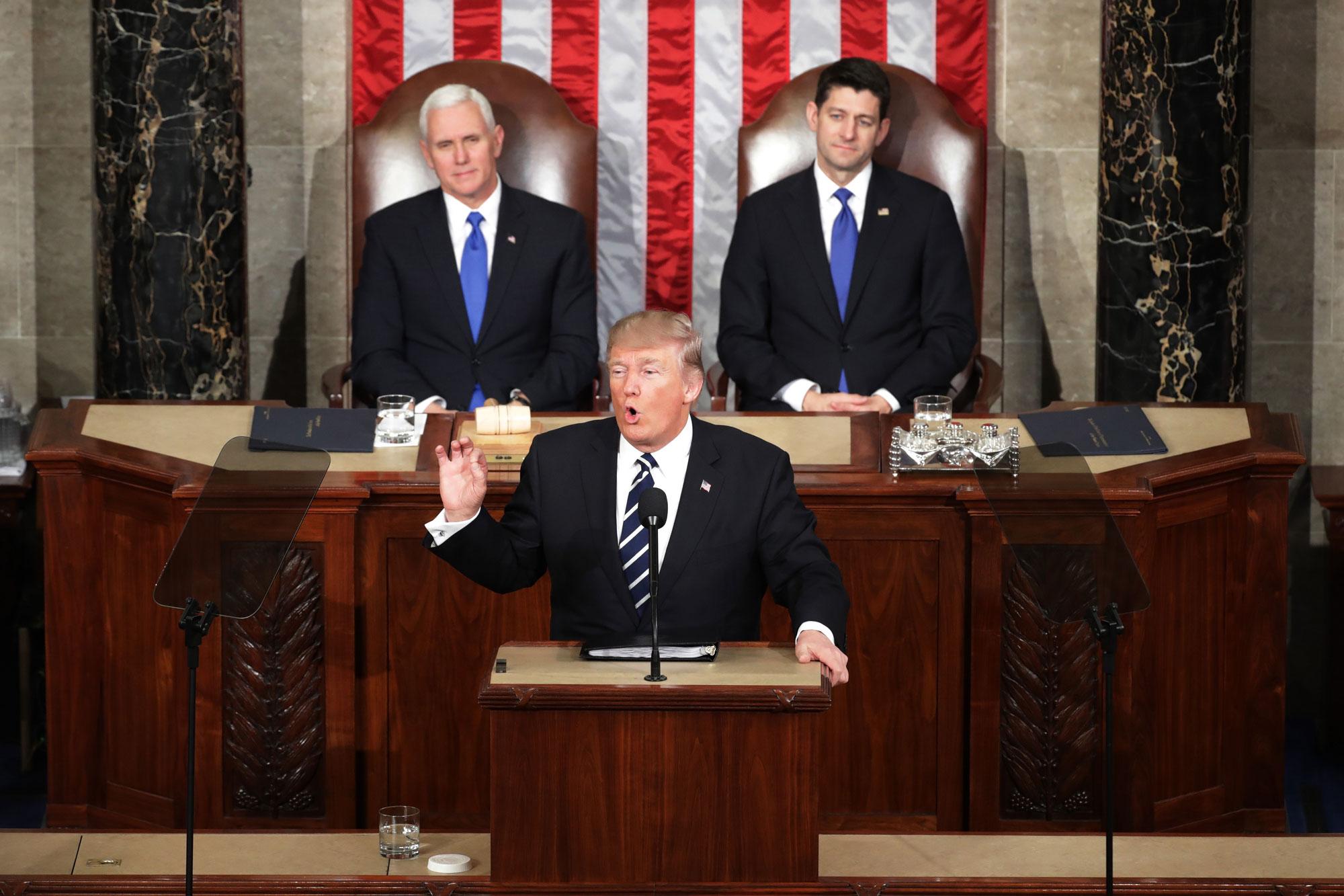 President Donald Trump addresses Congress last month.