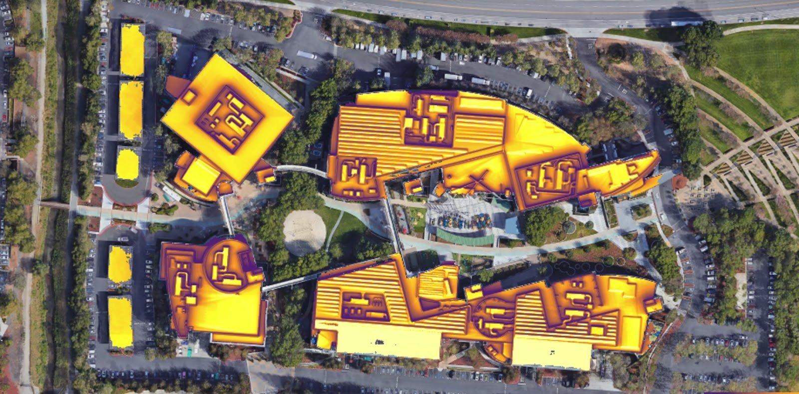 Google's campus in Mountain View, as viewed in Project Sunroof.