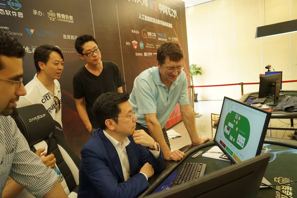 Kai-Fu Lee of Sinovation Ventures and Tuomas Sandholm of CMU at the poker tournament in southern China.