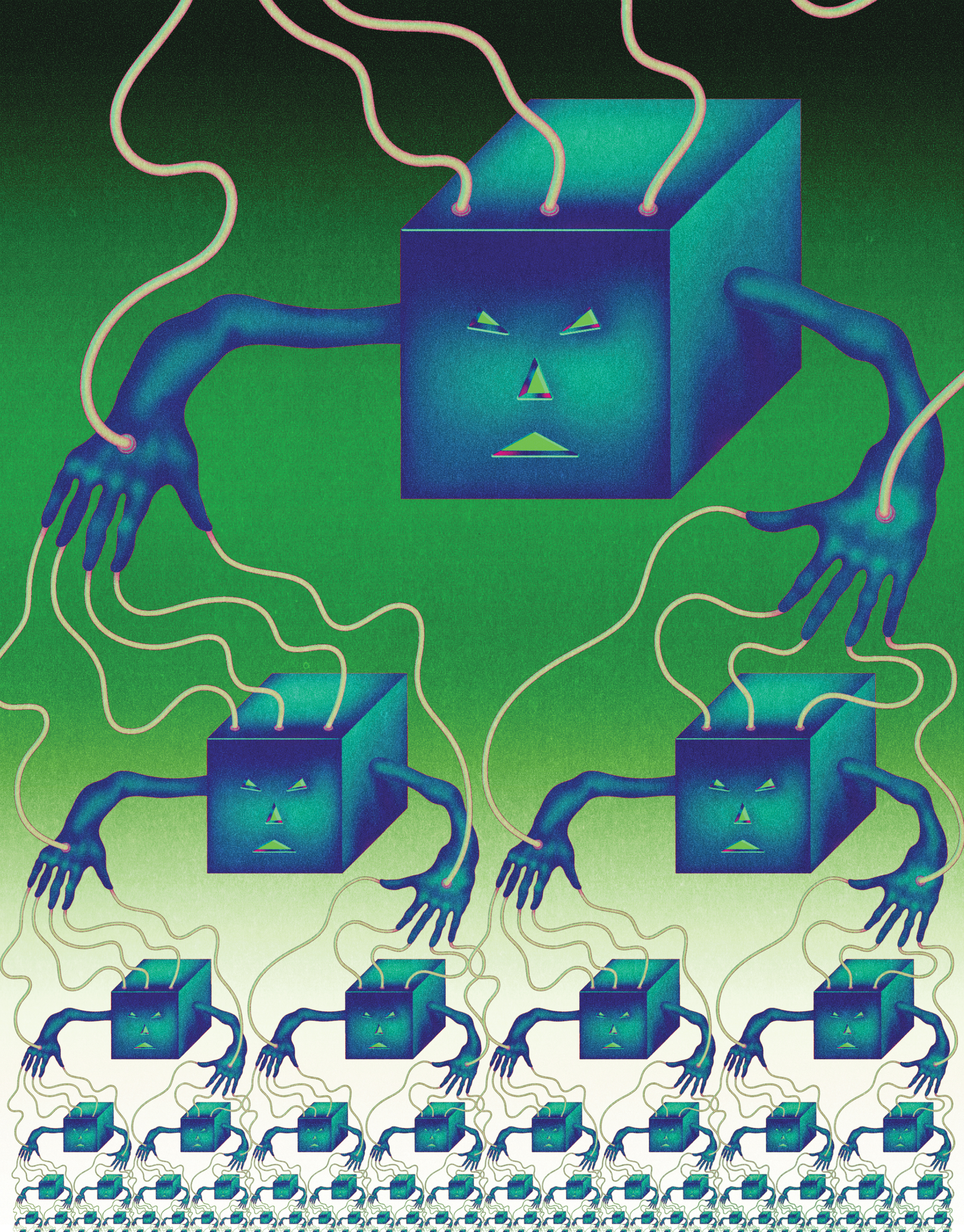 """<b><a href=""""https://www.technologyreview.com/s/603500/10-breakthrough-technologies-2017-botnets-of-things/"""">Botnets of Things</a></b> <br> Illustration by Robert Beatty"""