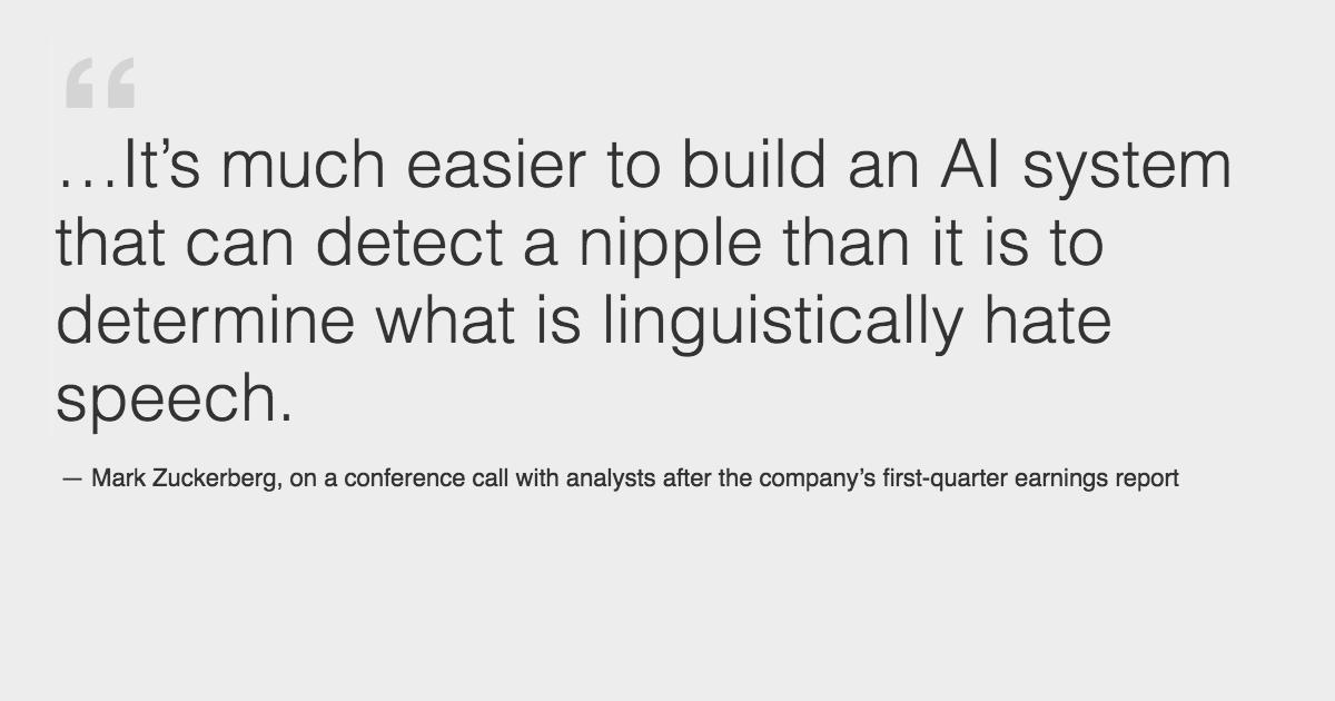 フェイスブックCEO曰く「ヘイトスピーチよりも乳首の検出が簡単」