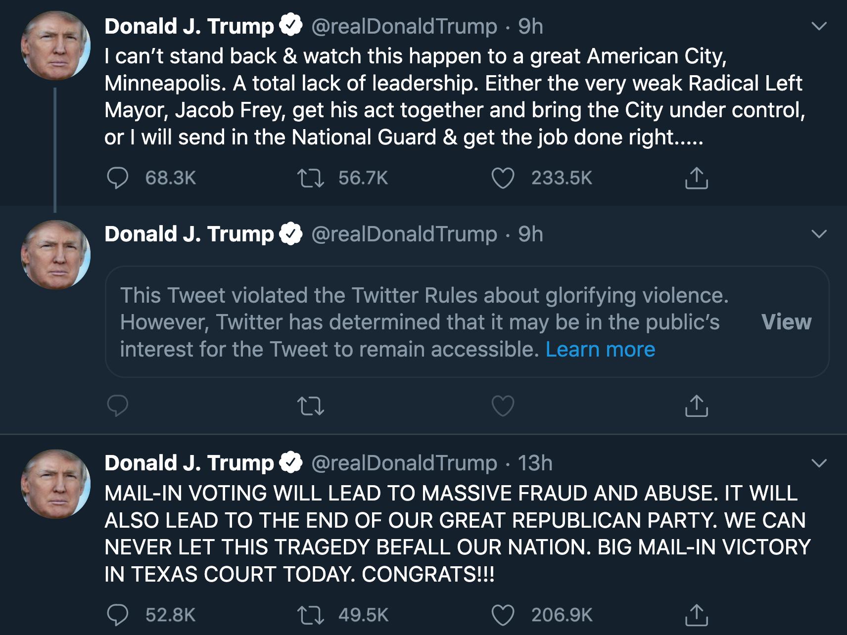 ツイッター、トランプ大統領のツイートに「暴力賛美」の警告